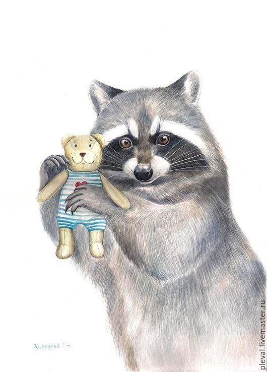 Животные ручной работы. Ярмарка Мастеров - ручная работа. Купить Картина акварелью Енот с мишкой. Handmade. Белый, полоскун