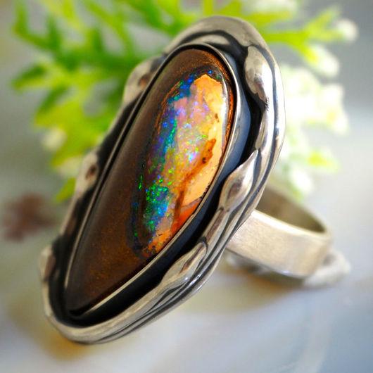 """Кольца ручной работы. Ярмарка Мастеров - ручная работа. Купить Кольцо """"Мираж"""" - натуральный болдер опал, серебро. Handmade."""