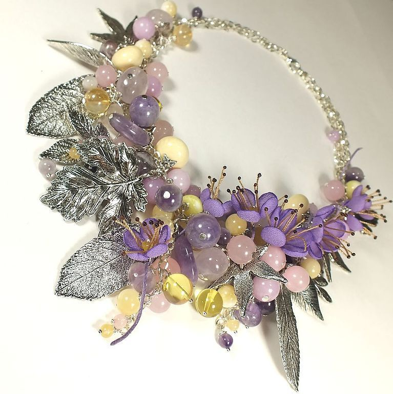 Fairy Lilac Garden. necklace with removable floral decoration, Necklace, St. Petersburg,  Фото №1