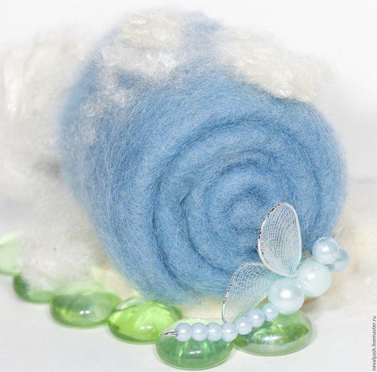 Валяние ручной работы. Ярмарка Мастеров - ручная работа. Купить Кардочес Нежно-голубой. Handmade. Синий, шерсть 100%