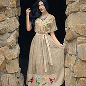 Одежда handmade. Livemaster - original item Linen dress in ethno style with embroidery