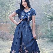 """Одежда handmade. Livemaster - original item Длинное джинсовое платье """"Нежные розы"""" с ручной вышивкой!. Handmade."""
