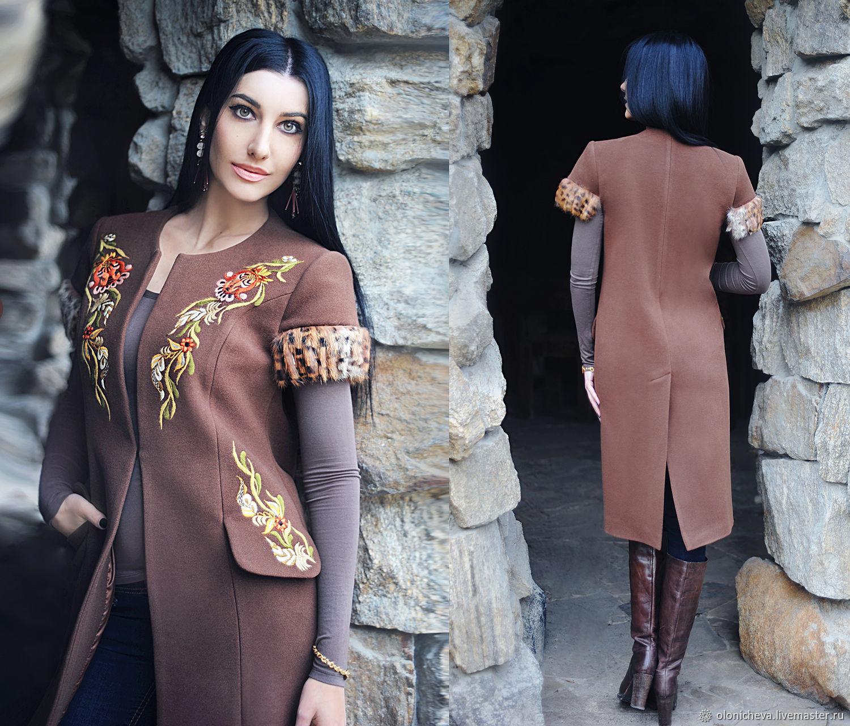 """Вышитое пальто """"Экзотика"""" стильный жилет с вышивкой, Coats, Vinnitsa,  Фото №1"""