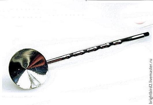 Для украшений ручной работы. Ярмарка Мастеров - ручная работа. Купить Заколка-невидимка  родий для  риволи 1122  Сваровски. Handmade.