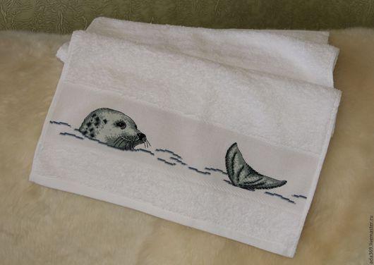 Ванная комната ручной работы. Ярмарка Мастеров - ручная работа. Купить полотенце с вышивкой крестом. Handmade. Комбинированный, полотенце с вышивкой