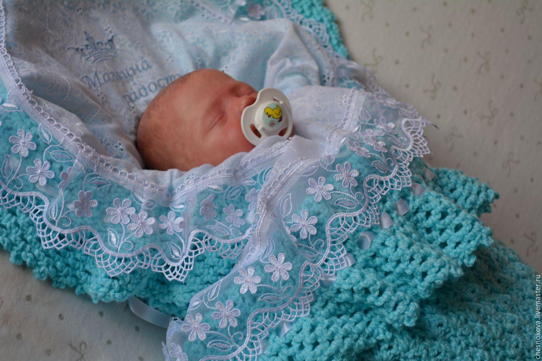 Вязаный плед для новорожденного на выписку