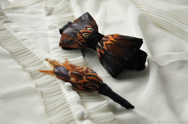 Комплект: Галстук-бабочка и бутоньерка с перьями петуха и фазана, Галстуки, Сочи,  Фото №1