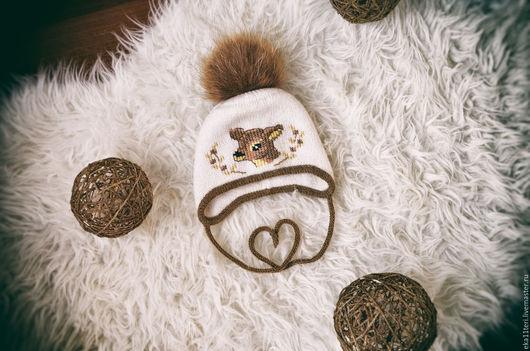 Для новорожденных, ручной работы. Ярмарка Мастеров - ручная работа. Купить Теплая шапочка ''Бэмби''. Handmade. Вязаная шапочка