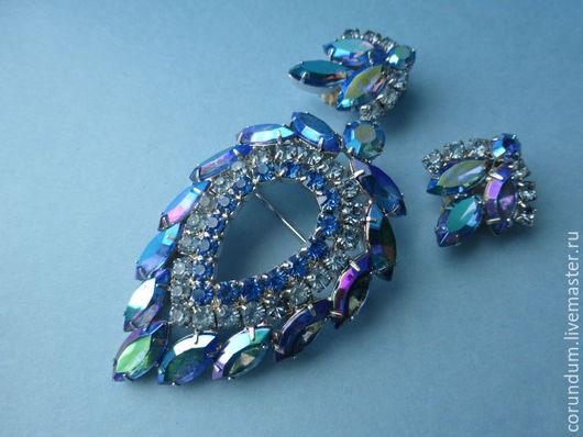 """Винтажные украшения. Ярмарка Мастеров - ручная работа. Купить Винтажный комплект """"Голубая лагуна""""  Sarah Coventry,винтаж 60-х,США. Handmade."""