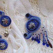 Украшения ручной работы. Ярмарка Мастеров - ручная работа Серьги и кулон Танабата, вышивка бисером. Handmade.
