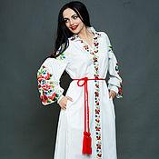 """Одежда ручной работы. Ярмарка Мастеров - ручная работа Вышитое белое платье """"Летняя палитра"""" вышивка гладью. Handmade."""