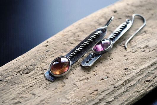 Серьги ручной работы. Ярмарка Мастеров - ручная работа. Купить Cordel - серебряные серьги с турмалинами (серебро 925). Handmade. Розовый