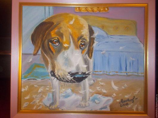 Животные ручной работы. Ярмарка Мастеров - ручная работа. Купить Картина маслом Про виноватую собаку. Handmade. Картина с собакой