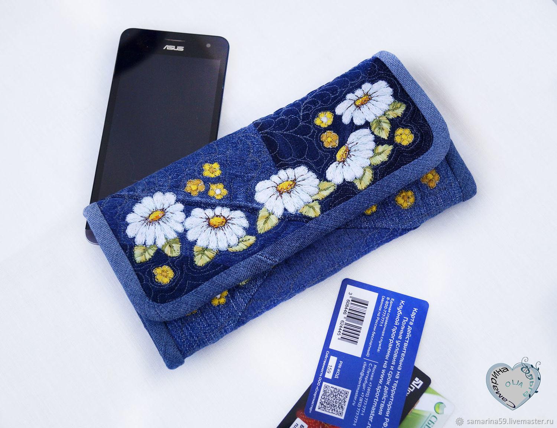 Purse denim Daisy patchwork embroidery, Wallets, Gelendzhik,  Фото №1