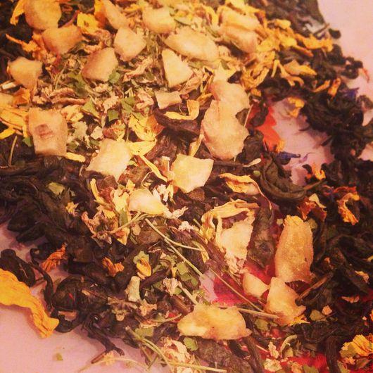 Ароматный легкий сбор на основе китайской сенчи с бананом, цветами яблони и подсолнечником (травы с Алтая).