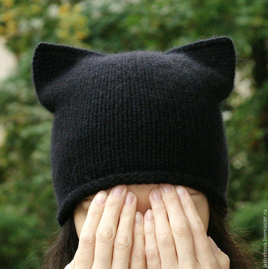 Вязаные женские шапки с ушками или завязками Вяжем с Лана Ви 44