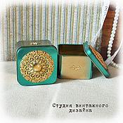 """Для дома и интерьера ручной работы. Ярмарка Мастеров - ручная работа Коробочка металлическая """"Gold emerald"""". Handmade."""