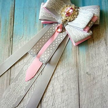 Accessories handmade. Livemaster - original item Bow brooch pink and grey. Handmade.