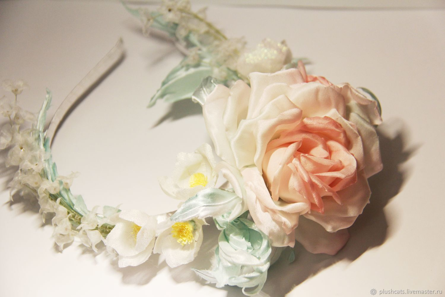 bezel with rose silk, Bridal Tiara, Moscow,  Фото №1