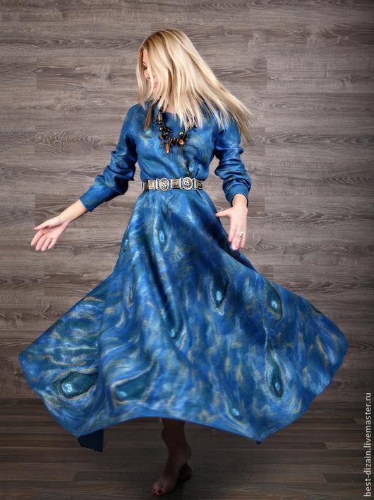 """Платья ручной работы. Ярмарка Мастеров - ручная работа. Купить Платье """"Для Елены"""". Handmade. Синий, волокна шёлка"""