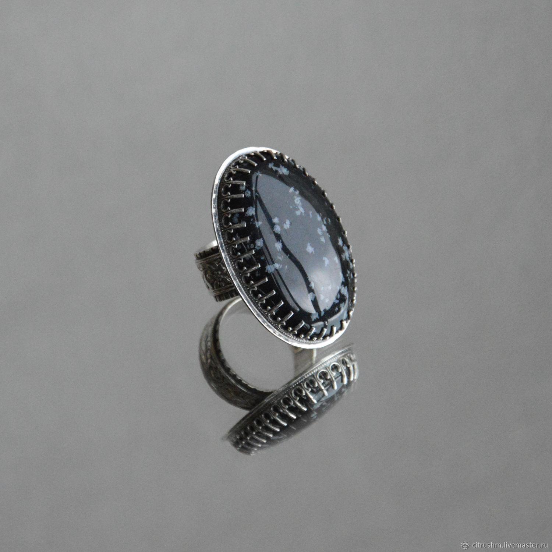 Серебряное кольцо со снежным обсидианом, Кольца, Воронеж,  Фото №1