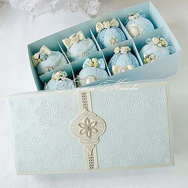 """Подарки к праздникам ручной работы. Ярмарка Мастеров - ручная работа """"Shabby blue """" коллекция ёлочных украшений. Handmade."""