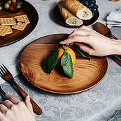 Посуда handmade. Livemaster - original item Wooden flat plate Siberian Cedar kitchen utensils #T107. Handmade.