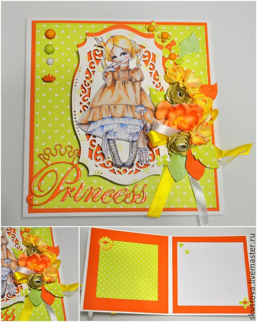 Детские открытки ручной работы. Ярмарка Мастеров - ручная работа. Купить Детская открытка «Принцессы». Handmade. Ярко-зелёный