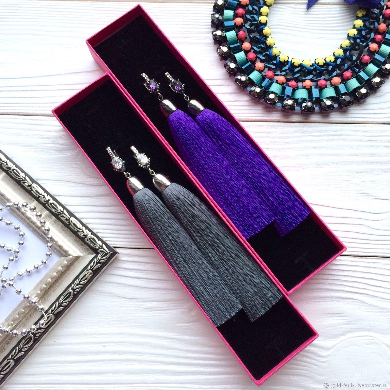 Earrings-brush gray grey steel smoky dark grey of the graphite, Tassel earrings, St. Petersburg,  Фото №1