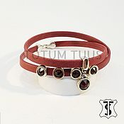 Bead bracelet handmade. Livemaster - original item Leather bracelet for girl Art:18000195. Handmade.