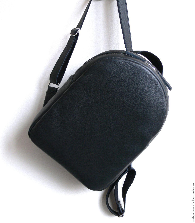 Рюкзак кожаный женский. Цвет матовый черный.