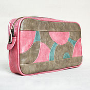 Сумки и аксессуары handmade. Livemaster - original item Cosmetic bag made of beige and pink PU Leather. Handmade.