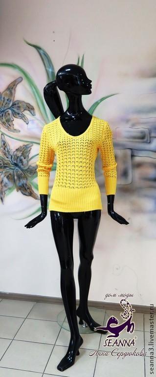 """Кофты и свитера ручной работы. Ярмарка Мастеров - ручная работа. Купить Джемпер-туника вязаный """"Солнечно-желтый"""" из итальянского хлопка. Handmade."""
