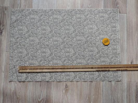 Шитье ручной работы. Ярмарка Мастеров - ручная работа. Купить ткань лен хлопок Серые цветы. Handmade. Лен