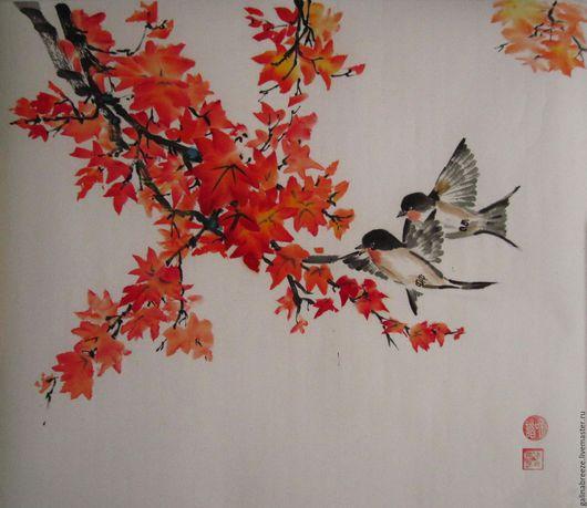 Пейзаж ручной работы. Ярмарка Мастеров - ручная работа. Купить Осенние мотивы. Handmade. Ярко-красный, осенние листья