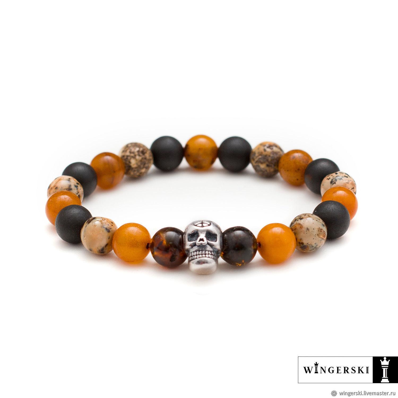 Bracelet Joker Baltic amber with silver charm (skull), Bead bracelet, Moscow,  Фото №1