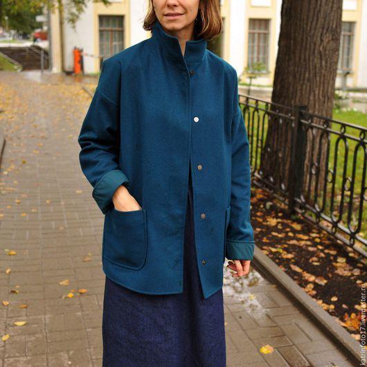 Верхняя одежда ручной работы. Ярмарка Мастеров - ручная работа. Купить Пиджак-пальто. Handmade. Тёмно-зелёный, пальто из шерсти