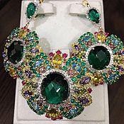 Spring dream. Серьги и кольцо с бриллиантами, изумрудами в золоте 585