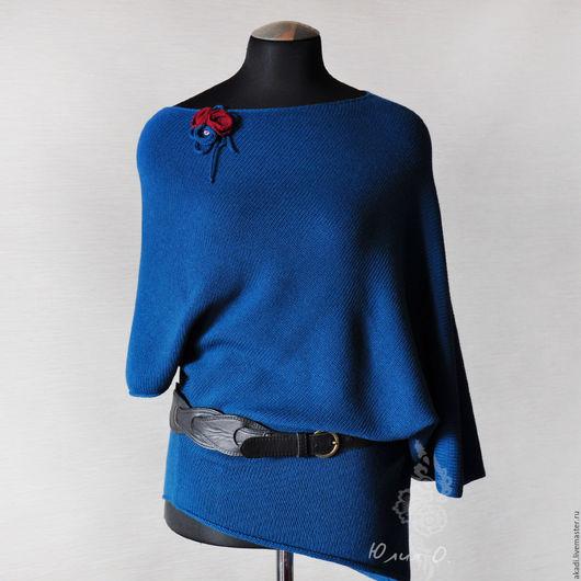 Кофты и свитера ручной работы. Ярмарка Мастеров - ручная работа. Купить Асимметричная туника / пончо свободного силуэта вязаная синяя. Handmade.