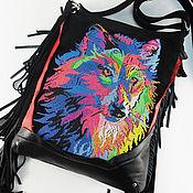 Вышитая сумка с бахромой Радужный волк Замша и кожа