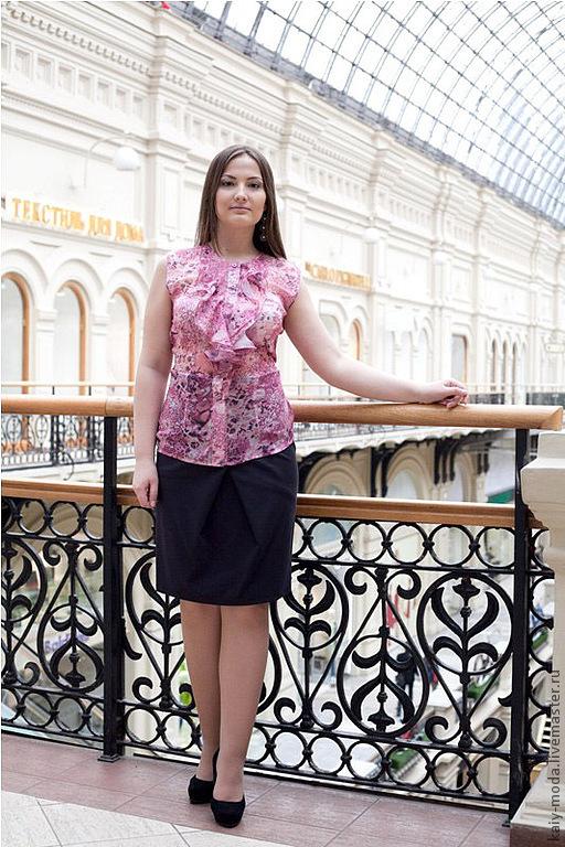 Блузки ручной работы. Ярмарка Мастеров - ручная работа. Купить Шифоновая блузка с жабо  - нежно-розовый. Handmade. Розовый