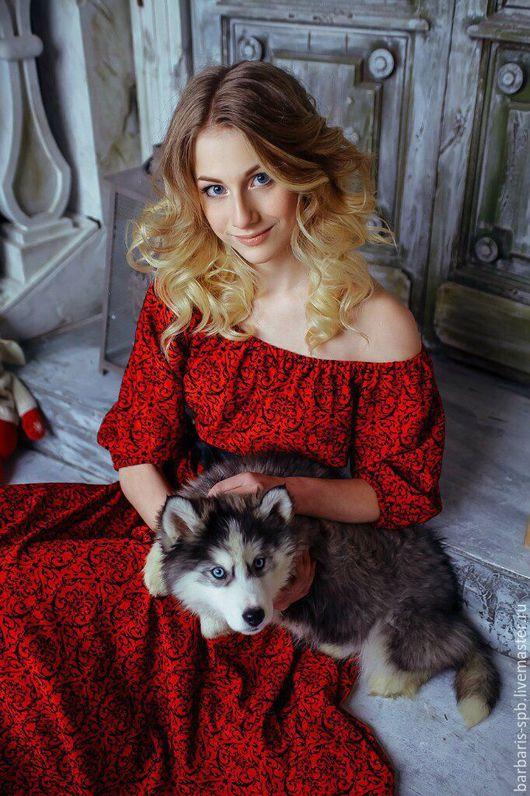 Платья ручной работы. Ярмарка Мастеров - ручная работа. Купить Платье красное длинное в пол с пышным рукавом и кожаным поясом. Handmade.