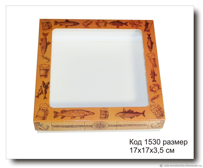 1530 коробочка с окошком размер 17х17х3.5 см для пряников, Коробки, Симферополь,  Фото №1