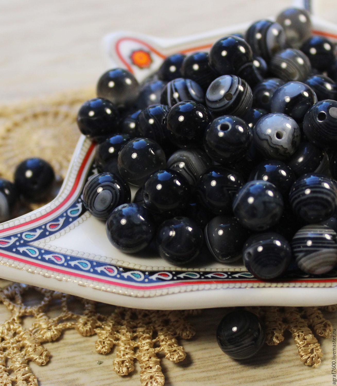 Агат черный бусины 8 мм шар, Бусины, Соликамск, Фото №1