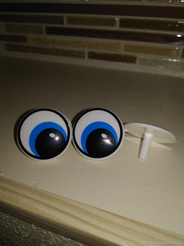 Глазки для игрушек пластиковые рисованные круглые Г41-25 голубые, Фурнитура, Мытищи, Фото №1