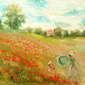 Картины и панно handmade. Livemaster - original item oil painting poppy field. Handmade.
