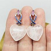 Украшения handmade. Livemaster - original item Princess Heart Earrings (Rose Quartz). Handmade.