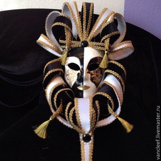 """Интерьерные  маски ручной работы. Ярмарка Мастеров - ручная работа. Купить Венецианская интерьерная маска """"Черное и белое"""". Handmade. маска"""
