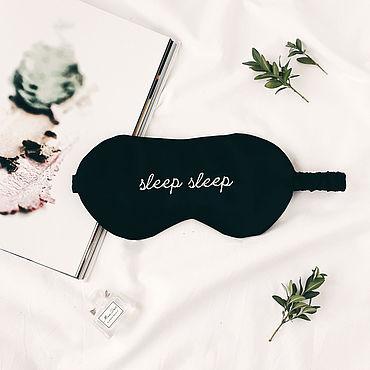 """Одежда ручной работы. Ярмарка Мастеров - ручная работа Маска для сна """"Sleep sleep"""" из натурального шелка черная. Handmade."""