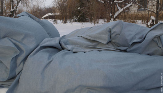 Текстиль, ковры ручной работы. Ярмарка Мастеров - ручная работа. Купить Постельное белье лен синий, комплект постельного белья. Handmade.